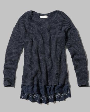 kids lace hem sweater