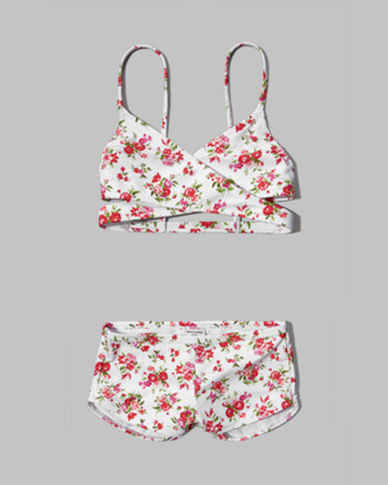 kids wrap style two-piece swimsuit