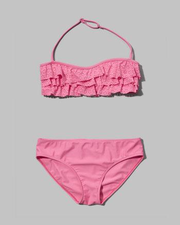 kids ruffle two-piece bandeau swimsuit