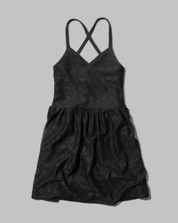 kids lace strappy skater dress