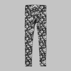 girls black floral leggings