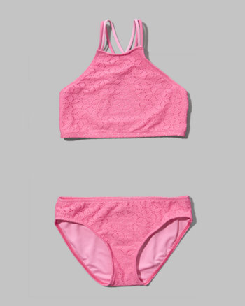 kids lace two-piece scuba swimsuit