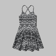 girls neoprene strappy skater dress