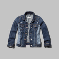 girls pattern panel denim jacket