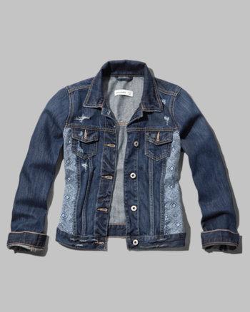 kids pattern panel denim jacket