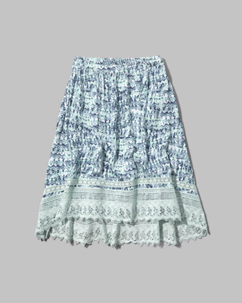 kids pattern lace hem midi skirt