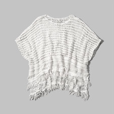 girls open stitch fringe poncho