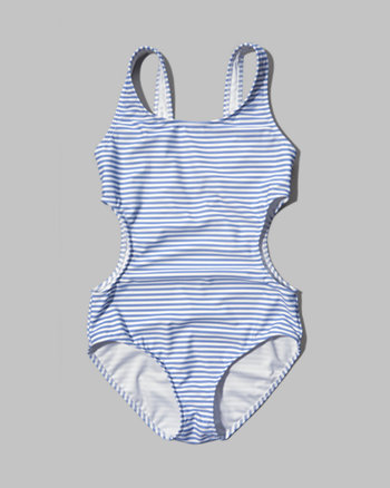 kids striped cutout one-piece swimsuit