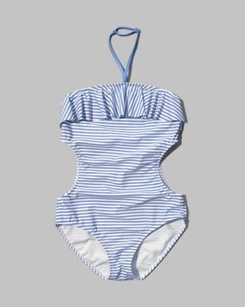 kids striped halter one-piece swimsuit