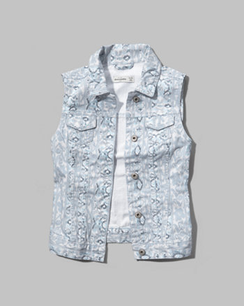 kids printed denim vest