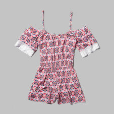 girls pattern open shoulder romper