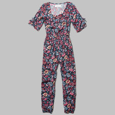 girls floral bell sleeve jumpsuit