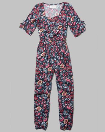 kids floral bell sleeve jumpsuit