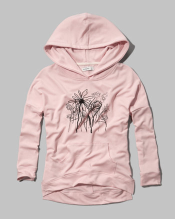 kids artistic floral graphic hoodie