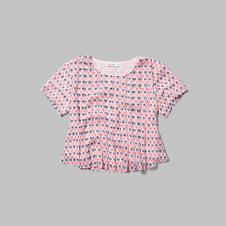 girls pleated crop tee