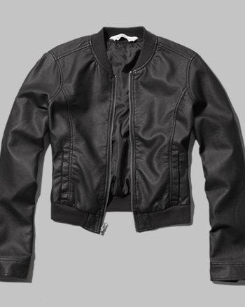 kids faux leather bomber jacket