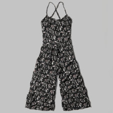 girls pattern gaucho jumpsuit