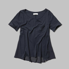 girls sheer back pocket tee