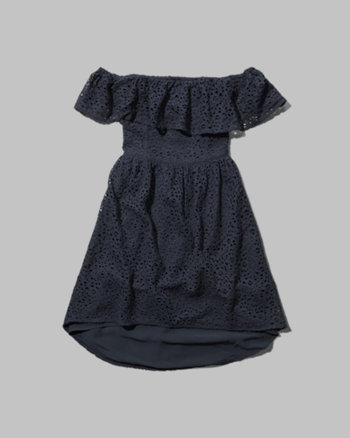 kids lace off-the-shoulder dress