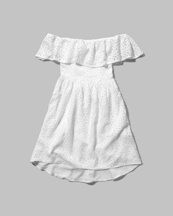 kids lace off-the-shoulder dress
