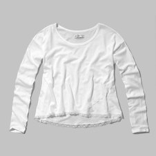 girls lace trim wrap tee