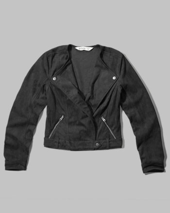 kids collarless faux suede jacket