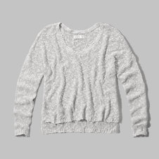 girls textured v neck sweater