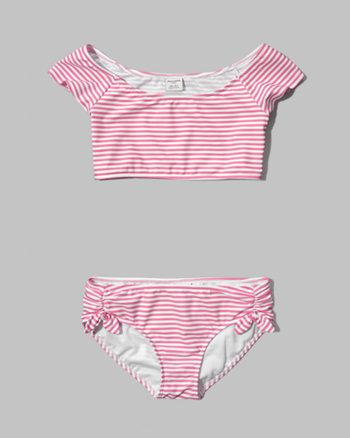 kids striped marilyn two-piece swimsuit
