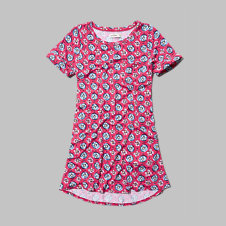 girls pattern swing t-shirt dress
