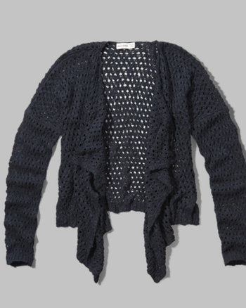 kids mesh knit drapey cardigan