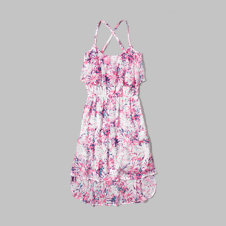 girls floral chiffon swing dress