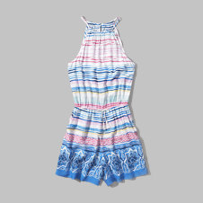 girls pattern high neck romper