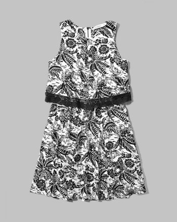 kids pattern overlay dress