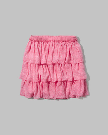 kids pattern ruffle skater skirt