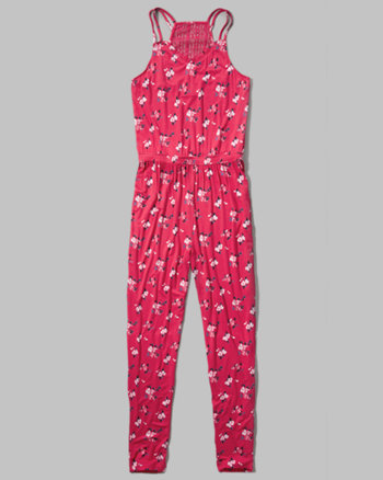 kids floral strappy jumpsuit
