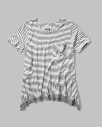 kids lace hem pocket tee