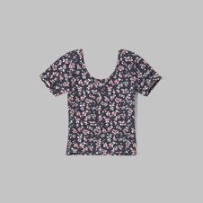 girls patterned button-up cropped tee