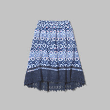 girls pattern lace hem midi skirt