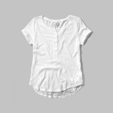 girls lace back henley