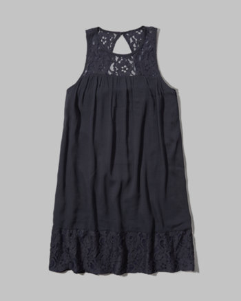 kids lace panel shift dress