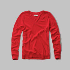girls slim v neck sweater