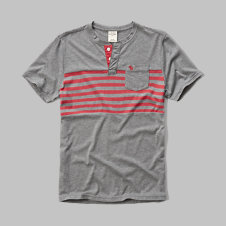 girls striped pocket henley