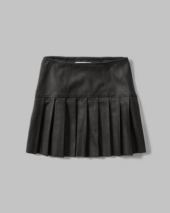 kids faux leather drop yoke skirt