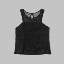girls lace cropped tank