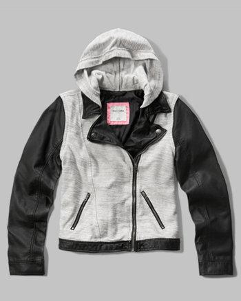 kids fleece faux leather biker jacket