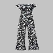 girls patterned strapless ruffle jumpsuit