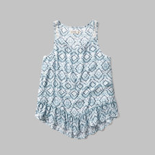 girls patterned lace back ruffle tank