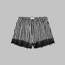 girls lace hem drapey shorts