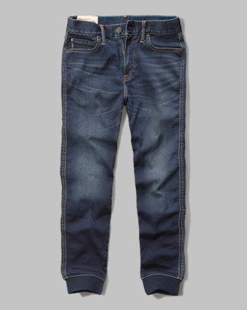 kids a&f denim slim straight joggers