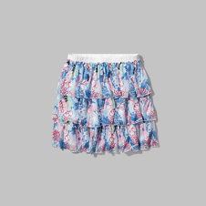 girls pattern ruffle skater skirt